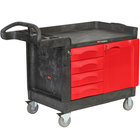 "Rubbermaid FG453388BLA TradeMaster 49"" x 26 3/16"" Black Cart with 4 Drawers and Cabinet"