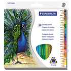 Staedtler 1270C24A6 24-Color Assorted H Lead #3 Triangular Colored Pencil Set