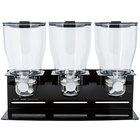 Zevro KCH-06150 Professional Black Triple Canister Dry Food Dispenser