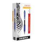 Zebra 46620 Sarasa Blue Ink with Transparent Blue Barrel 1mm Retractable Gel Pen - 12/Pack