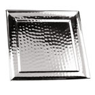 Clipper Mill by GET SSTPD-14 14 inch Stainless Steel Square Tray with Pounded Finish