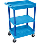 Luxor BUSTC121BU Blue 2 Tub and 1 Flat Shelf Utility Cart - 24 inch x 18 inch