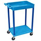 Luxor BUSTC12BU Blue 1 Tub and 1 Flat Shelf Utility Cart - 24 inch x 18 inch
