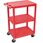 Luxor RDSTC222RD Red 3 Flat Shelf Utility Cart - 24 inch x 18 inch