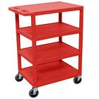 Luxor BC45 Red 4 Shelf Utility Cart - 18 inch x 24 inch x 39 inch