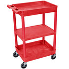 Luxor RDSTC121RD Red 2 Tub and 1 Flat Shelf Utility Cart - 24 inch x 18 inch