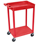 Luxor RDSTC12RD Red 1 Tub and 1 Flat Shelf Utility Cart - 24 inch x 18 inch