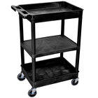 Luxor STC121-B Black 2 Tub and 1 Flat Shelf Utility Cart - 24 inch x 18 inch