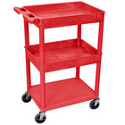 Luxor RDSTC112RD Red 2 Tub and 1 Bottom Flat Shelf Utility Cart - 24 inch x 18 inch