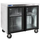 Nor-Lake NLURG36A-014 AdvantEDGE 36 inch Undercounter Refrigerator with Low Profile Casters and Glass Doors