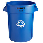 Rubbermaid FG263273BLUE BRUTE 32 Gallon Blue Round Recycling Can