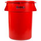 Continental Huskee 44 Gallon Red Round Trash Can with Red Lid