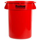 Continental Huskee 32 Gallon Red Round Trash Can with Red Lid