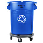 Rubbermaid BRUTE 20 Gallon Blue Round Recycling Can with Lid and Dolly