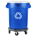 Rubbermaid BRUTE 20 Gallon Blue Recycling Can with White Lid and Dolly