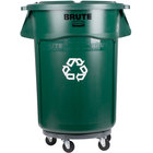 Rubbermaid BRUTE 44 Gallon Dark Green Recycling Can with Lid and Dolly