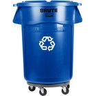 Rubbermaid BRUTE 44 Gallon Blue Recycling Can with Lid and Dolly