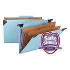 Smead 65165 FasTab SafeSHEILD Legal Size Hanging Classification Folder - 6-Section with 2/5 Cut Right of Center Tab, Blue