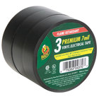 Duck Tape 299004 Shurtech 3/4 inch x 16 1/2 Yards Black Professional Electrical Tape - 3/Pack