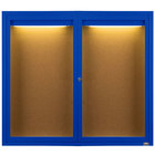 Aarco DCC4860RIB 48 inch x 60 inch Enclosed Hinged Locking 2 Door Powder Coated Blue Finish Indoor Lighted Bulletin Board Cabinet