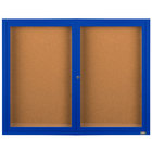 Aarco DCC4872RB 48 inch x 72 inch Enclosed Hinged Locking 2 Door Powder Coated Blue Finish Indoor Bulletin Board Cabinet