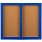 Aarco DCC4860RB 48 inch x 60 inch Enclosed Hinged Locking 2 Door Powder Coated Blue Finish Indoor Bulletin Board Cabinet
