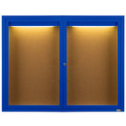 Aarco DCC3648RIB 36 inch x 48 inch Enclosed Hinged Locking 2 Door Powder Coated Blue Finish Indoor Lighted Bulletin Board Cabinet