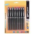 Uni-Ball 58092PP VISION ELITE Assorted Ink with Black Barrel 0.5mm Roller Ball Stick Pen   - 8/Set