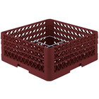Vollrath PM1211-3-21 Traex® Plate Crate Burgundy 12 Compartment Plate Rack - Holds 5 inch to 7 5/8 inch Plates