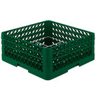 Vollrath PM1211-3-19 Traex® Plate Crate Green 12 Compartment Plate Rack - Holds 5 inch to 7 5/8 inch Plates