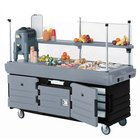 Cambro CamKiosk KVC856426 Black Base with Granite Gray Door Vending Cart with 6 Pan Wells