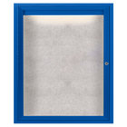 Aarco ODCC3630RIB 36 inch x 30 inch Enclosed Hinged Locking 1 Door Powder Coated Blue Outdoor Lighted Bulletin Board Cabinet