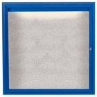 Aarco ODCC3636RIB 36 inch x 36 inch Enclosed Hinged Locking 1 Door Powder Coated Blue Outdoor Lighted Bulletin Board Cabinet
