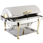 Bon Chef 19040 Elite Rectangle 8 Qt. Dripless Stainless Steel with Brass Accents Roll Top Chafer with Roman Legs