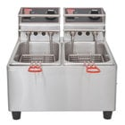 Cecilware EL2X6 Stainless Steel Electric Commerical Countertop Deep Fryer with Two 6 lb. Fry Tanks - 120V, 1800W