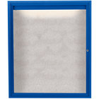 Aarco ODCC4836RIB 48 inch x 36 inch Enclosed Hinged Locking 1 Door Powder Coated Blue Outdoor Lighted Bulletin Board Cabinet
