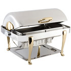 Bon Chef 19040G Elite Rectangle 8 Qt. Dripless Stainless Steel with Gold Accents Roll Top Chafer with Roman Legs