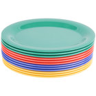 GET OP-950-MIX Diamond Mardi Gras 9 3/4 inch x 7 1/4 inch Oval Melamine Platter, Assorted Colors - 24/Case