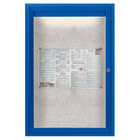 Aarco ODCC3624RIB 36 inch x 24 inch Enclosed Hinged Locking 1 Door Powder Coated Blue Outdoor Lighted Bulletin Board Cabinet