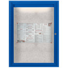 Aarco ODCC2418RIB 24 inch x 18 inch Enclosed Hinged Locking 1 Door Powder Coated Blue Outdoor Lighted Bulletin Board Cabinet