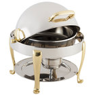 Bon Chef 19014G Petite 3 Qt. Dripless Round Stainless Steel with Gold Accents Roll Top Chafer with Roman Legs