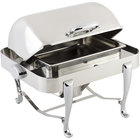 Bon Chef 19150CH Roman Sleek 3 Qt. Dripless Stainless Steel with Chrome Accents Roll Top Chafer with Roman Legs