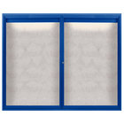 Aarco ODCC4860RIB 48 inch x 60 inch Enclosed Hinged Locking 2 Door Powder Coated Blue Outdoor Lighted Bulletin Board Cabinet