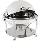 Bon Chef 19000CH Elite Round 8 Qt. Dripless Round Stainless Steel with Chrome Accents Roll Top Chafer with Roman Legs