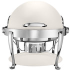 Bon Chef 19000CH-BIANCO Elite Round 8 Qt. Dripless Bianco Finish with Chrome Accents Roll Top Chafer with Roman Legs