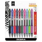 Zebra 46881 Sarasa Assorted Ink with Assorted Barrel Color 0.7mm Retractable Roller Ball Gel Pen - 10/Set