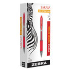 Zebra 46830 Sarasa Red Ink with Red Transparent Barrel 0.7mm Retractable Roller Ball Gel Pen - 12/Pack