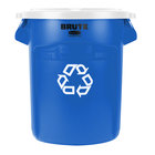 Rubbermaid BRUTE 20 Gallon Blue Recycling Can and White Lid