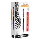 Zebra 46720 Sarasa Blue Ink with Transparent Blue Barrel 0.5mm Retractable Roller Ball Gel Pen - 12/Pack