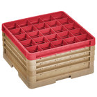 Vollrath CR10FFFF-32902 Traex® 9 Compartment Beige Full-Size Closed Wall 9 7/16 inch Glass Rack - 3 Beige Extenders, 1 Red Extender